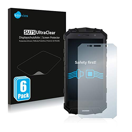 Savvies 6X Schutzfolie kompatibel mit Doogee S60 Bildschirmschutz-Folie Ultra-transparent