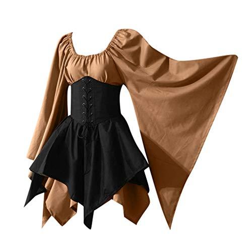 Shinehua Dames carnaval middeleeuwse kostuum Victoriaans Renaissance Medieval volwassene Cosplay maxi-jurk lange mouwen renaissance jurk met capuchon middeleeuws kostuum
