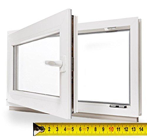 Kellerfenster 3fach Verglasung BxH 70x45cm / 700x450mm DIN L - Zwischenmaß - Kunststoff Fenster Pilzkopfverr. WINKHAUS Isolierglas