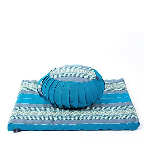 LEEWADEE Set de meditación con Funda – Cojín Zafu y colchoneta Zabuton de meditación...
