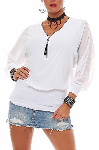 Malito Damen Bluse im Fledermaus Look   Tunika mit Zipper   Kurzarm Blusenshirt mit breitem Bund   Elegant - Shirt 6297 (weiß)