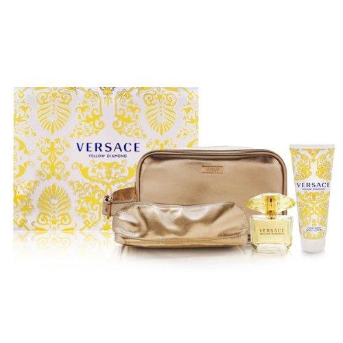 VERSACE YELLOW DIAMOND Women Gift Set Eau de Toilette 3oz Spray   3.4oz B/LOT   TRAVEL POU