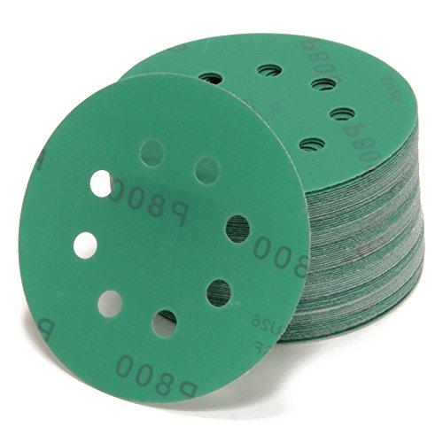 Woltersberger® 50 piezas Papel de lija de 125 mm | Papeles de Lija Abrasivos con 8 Agujeros para Lijadora Excéntrica | grano P40 verde | para un lijado óptimo, versátil