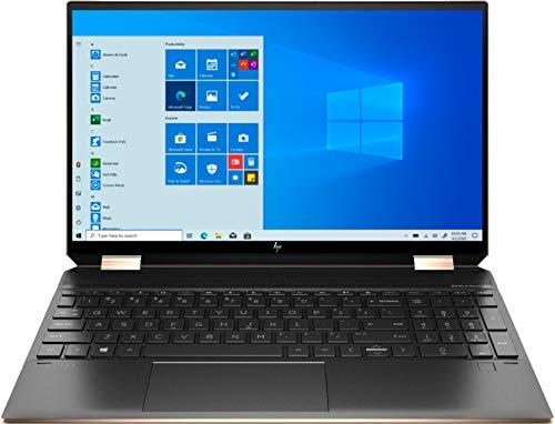 HP Spectre X360 15.6-inch 4K UHD Touchscreen 512GB SSD + 32GB Optane 11th Gen i7 (16GB RAM, Quad-Core i7-1165G7 up to 4.7GHz, Windows 10 Home, 3840 x 2160 Resolution) Nightfall Black, 15-eb1043dx