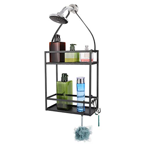 Minggoo Shower Caddy OrganizerMounting Over Shower Head Or DoorExtra Wide Space for Shampoo Conditioner and Soap with Hooks for Razorsand More105quot x 45quot x 224quot Mental Black
