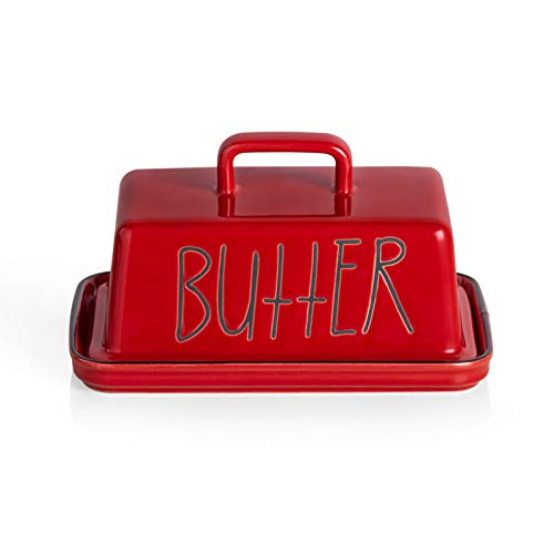 SWEEJAR Ceramic Butter Dish with Handle Lid 73 Inch Porcelain Large Butter Keeper with Cover Perfect for East/West Butter Red