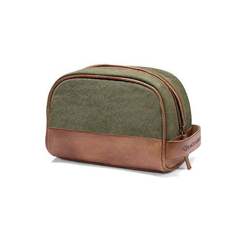 DRAKENSBERG Dopp Kit - Borsa da bagno classica, sacca da toilette per donna e uomo, sacchetto cosmetico, realizzata a mano in qualità premium, 5L, tela e pelle, verde oliva, DR00177