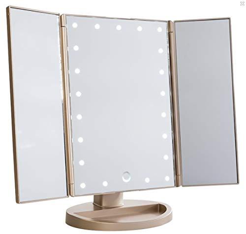 QINGTIAN Espejo de Maquillaje con Luces LED,Aumento de 2X / 3X Espejo de vanidad Espejo de Maquillaje Triple Espejo de Mesa con 21 Luces LED Interruptor del Sensor táctil 180 ° de rotación Libre