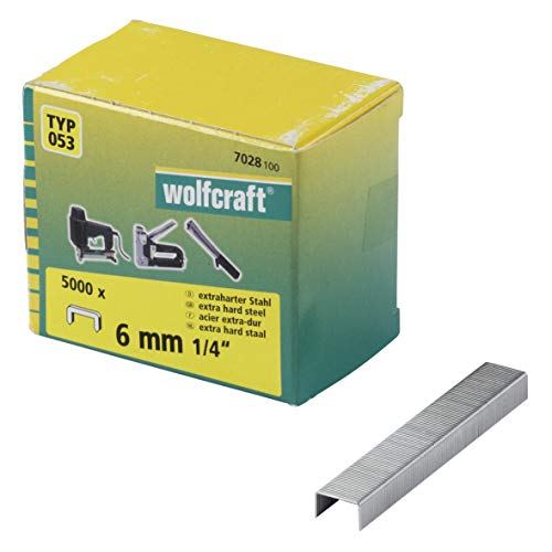 Wolfcraft 7028100 (L) grapas de lomo ancho, tipo 053 PACK 5000, Set...