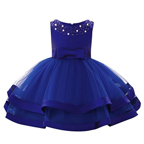 catmoew (6-18M Baby Mädchen Ärmellos Perle Mesh Rock anziehen Prinzessin Tutu Kleid Blumen Spitze Tüll Taufkleid Kinder Hochzeits Festlich Kleider