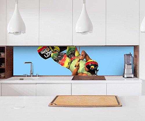 Aufkleber Küchenrückwand wakeboarding waken wakeborden sport Folie selbstklebend Dekofolie Fliesen Möbelfolie Spritzschutz 22A1172, Höhe x Länge:80cm x 200cm
