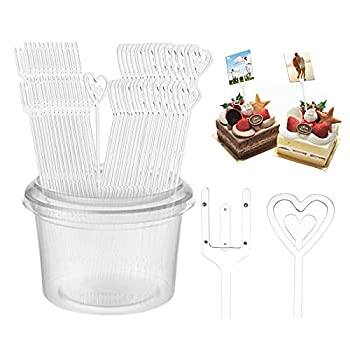 Wehhbtye 120PCS 9  and 9.4  Plastic Floral Picks-Transparent Straight Fork Head Floral Card Holder Picks,Clear Heart Shaped Head Flower Pick for Floral Arrangement Card Photo Wedding Party Home Decor