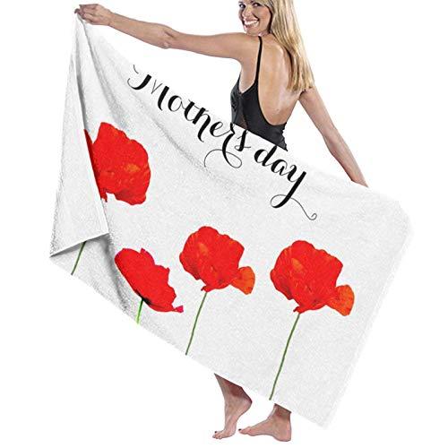 Poppy Collection 04 Happpy Toalla de baño para el día de la madre súper suave de microfibra toalla de playa toalla de baño para viajes y deportes de 31.5 x 52 pulgadas
