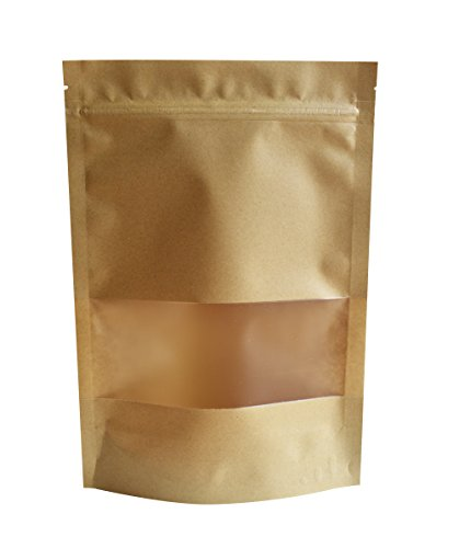 "51groups Kraft Paper Bag with Transparent Window(30-Pack) Dry Food Snack Storage | Home, DIY, Commercial Use | Store Coffee, Tea Leaves, Nut, Candy | Food-Grade Safe (8""X 12"")"
