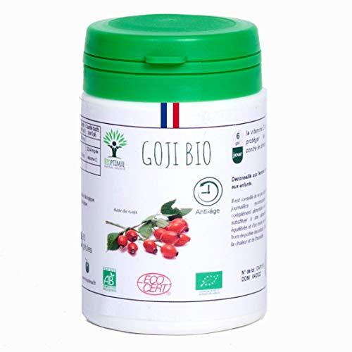 Goji bio | 60 gélules | Complément alimentaire | Antioxydant Vitamine C Collagène Anti âge | Bioptimal nutrition naturelle | Fabriqué en France | Certifié par Ecocert | Satisfait ou Remboursé 30 jours