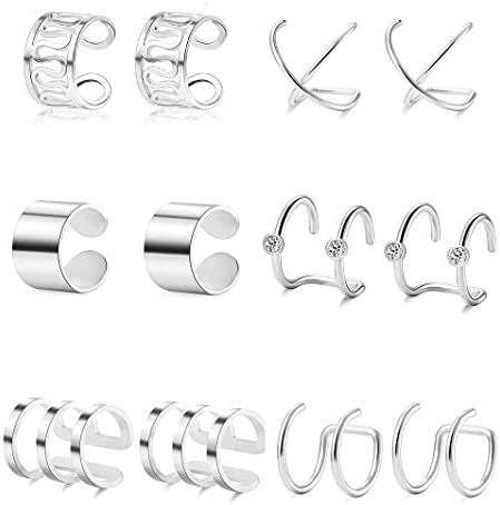 Ofeiyaa 6 Pairs Stainless Steel Ear Clips Cartilage Earring Cuffs Non Piercing Earrings Wrap product image