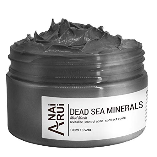 ANAIRUI Dead Sea Mud Mask for Face and Body All Skin Types - Facial Black Clay Mask for Purifying Acne, Revitalize and Pores Minimizer - Natural Face and Skin Care Mud Mask 3.52 Oz