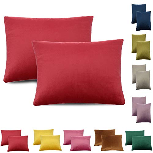 CALIYO - Funda de cojín de terciopelo, universal, 2 o 3 fundas de almohada para cojines decorativos, cojines de sofá, cojines de sofá, 45 x 45 cm, muchos colores, coral oscuro., 30 x 50 cm