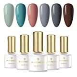 BORN PRETTY Juego de esmalte de uñas de gel UV Nail Art Gel Soak Disappear Pure Color Design Juego de 6 botellas (Set6)