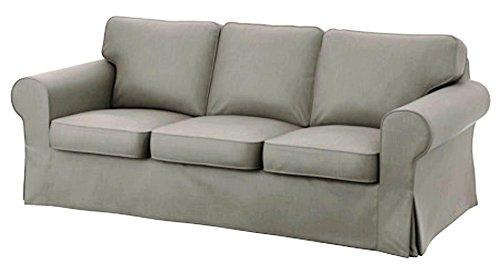 Custom Slipcover Replacement IKEA Ektorp 3 Sitzer Sofa Baumwollabdeckung Replacement ist nach Maß Slipcover Für IKEA Ektorp-Sofa-Abdeckung Hellgrau strapazierfähige Baumwolle