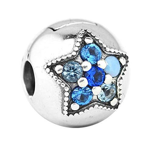 PANDOCCI 2017 regali di Natale blu brillante stella clip perline fai da te adatto per originale pandora bracciali in argento 925 gioielli moda di fascino