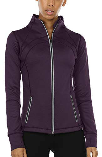 icyzone Sport Jacke Damen Langarm Shirt - Trainingsjacke voll Reißverschluss Laufshirt mit Daumenloch und Seitentasche (S, Plum Purple)