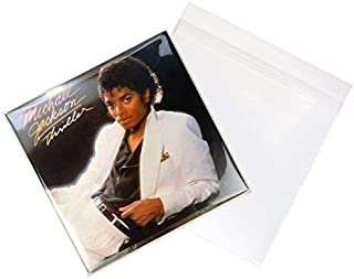 Flap Crystal Clear Record Sleeves | Pack of 100 | 12.75 x 12.75 | Protective Outer Sleeves for Double LP Gatefold Albums | Poly Vinyl Sleeve Storage Protects from Wear, Scratch, Dust | BLPD4A
