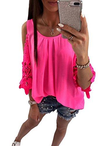 Evedaily Frauen Elegant Sommer Rundausschnitt T-Shirt Tops Aus der Schulter Tops Oberteile Kurzärmelig (Neon Rose Rot, XL)