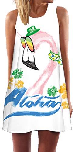 Ocean Plus Mujer Verano Flamenco Camisola Vestido De Playa Top Sin Mangas Trapecio O Corte En A Vestido Oeste (XL (EU 40-42), Flamenco Gafas de Sol del Arco Iris)