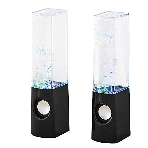 2X Lautsprecher schwarz Licht Effekt USB AUX Wasser Spiel Musik Box Jens Stolte Leuchten 4540/09/JS