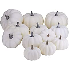 Sizes range from 2.5 Inches to 4 Inches in diameter 12 Piece Package of Assorted Harvest White Artificial Gourds and Pumpkins For Home Decor, Harvest Embellishing and Displaying Set the scene this harvest season with these Assorted Harvest White Arti...