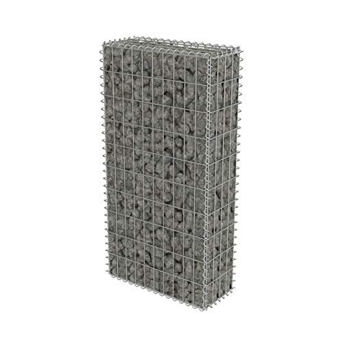 Gabion métallique en acier galvanisé, cage en filet, panier à fleurs pour pierres, 50 x 20 x 100 cm, jusqu'à 1400 kg/m³