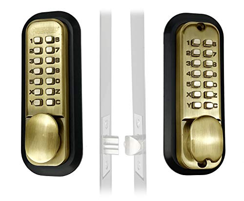 Mechanical Keyless Combination Latch Door Lock with Double Keypads - No Battery No Power Needed (Antique Brass)