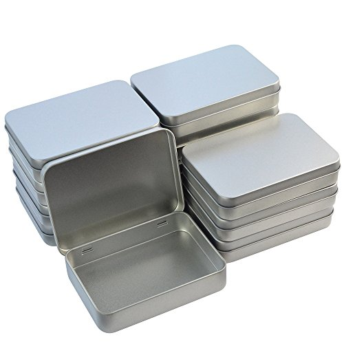Wobe 12pcs Metal Rectangular Empty Hinged Tins Box Containers 4.5x3.3x0.9 in, Mini Portable Box Small Storage Kit Home Organizer Holders for First Aid Kit, Survival Kits, Storage, Herbs Pills Crafts