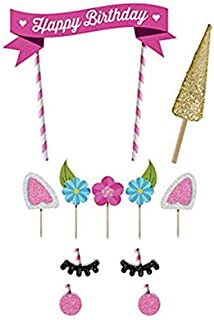 1 Set Unicorn Birthday Cake Topper Flower Eyelashes Happy Birthday Party Cake Decor Set Handmade Baby Children Party Decoration