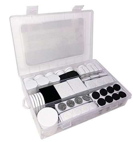Green Home Filz-Gleiter-Sortiment 300-teilig - Möbelgleiter- / Filzgleiter Box schwarz / weiß / grau