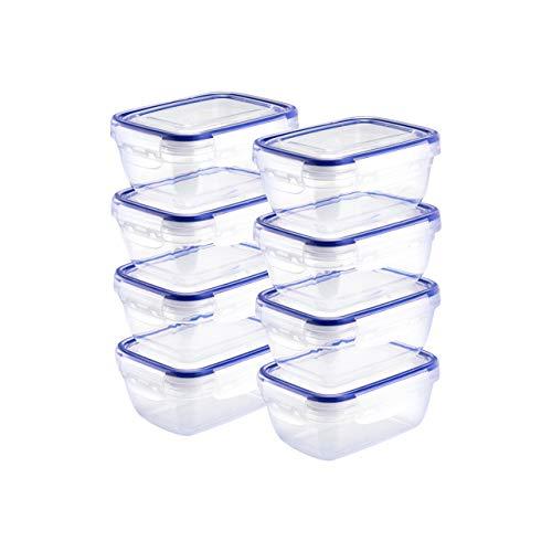 Grizzly Frischhaltedosen Set Rechteckig 8 x 400 ml Vorratsdosen mit Deckel 100% Luft-und Wasserdicht