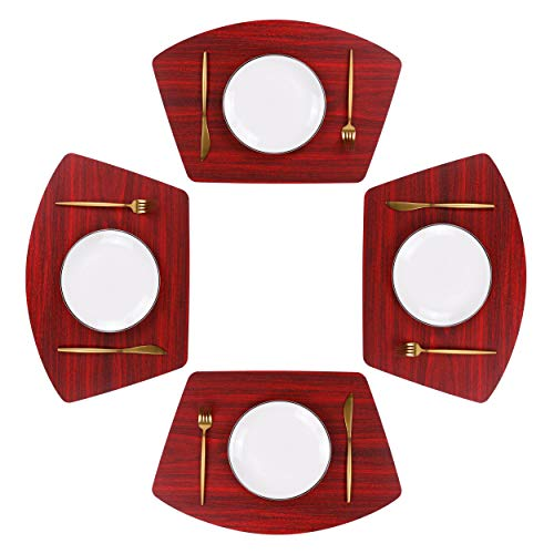 Jovono Round Table Placemats Wedge Table Mats Set of 4 Heat Resistant Wipe Clean for Round Tables Dining Table (4, Cherry Red)