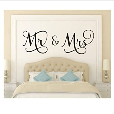 Dnven (Large, 50  w x 17  h) Mr and Mrs Husband and Wife Couples Headboard Bedroom Hand-made Wall Decals Stickers Arts Decor Home Vinyl Lettering Sayings Quotes Romantic Wedding Anniversary