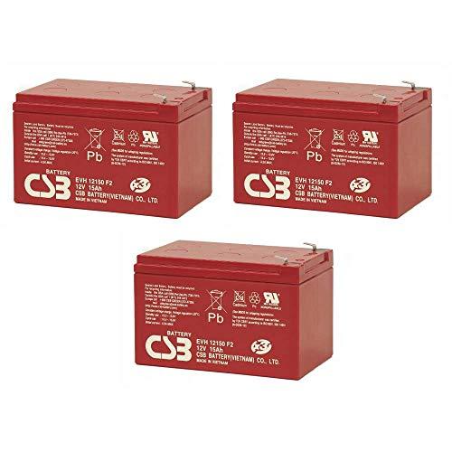 WSB Battery Akkusatz 36V Akkupack für Elektro Scooter 3X 12Volt 15Ah CSB Akku, kompatibel Mach1, SXT, MZ Charly