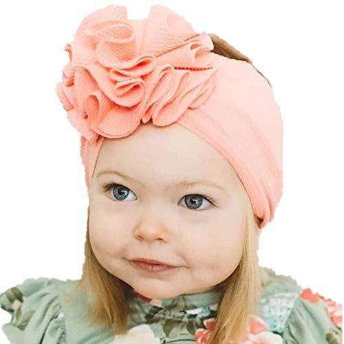 Geagodelia Turban Baby Mädchen Neugeboren Stirnband Haarband Knoten Mütze Sommer Stretch Schleife Headwear Kleinkind (Rosa Blume, One Size)