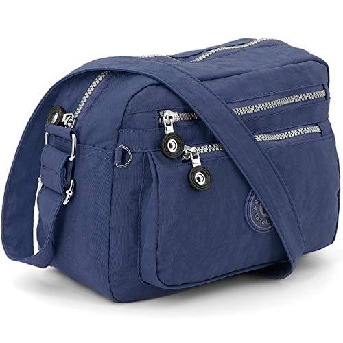 ekavale - Pequeño bolso de hombro de nailon impermeable – Bolso de mano para mujer y niña – Bolso cruzado – Bolso ligero, color Azul, talla Small