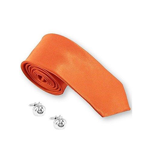 Cravate slim orange et boutons de manchette « Halloween »