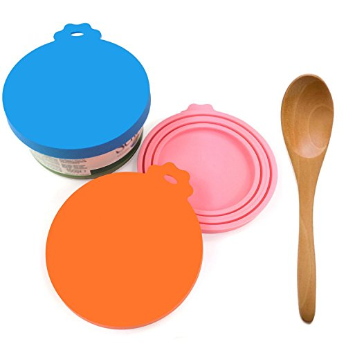 Best Price! Can Covers /3 Pack/with Food Scoop Packaging,BPA Free Silicone Can Cover for Multiple Si...