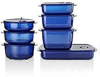 Tupperware Vent and Serve Microwaveable 7 Piece Set in Indigo Mist