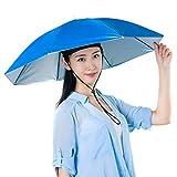 Sombrero de paraguas de pesca 27. 2 pulgadas plegable impermeable resistente a los rayos UV sombrero de pesca manos libres, Blue (Azul) - 1500364/120141AM164-1646