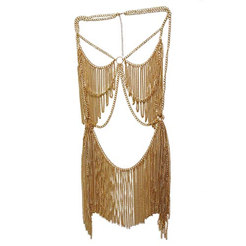 Boho Jewelry Women Metal Body Chain Set Indian Belly Chain Bikini Halloween Costume Party (Gold)