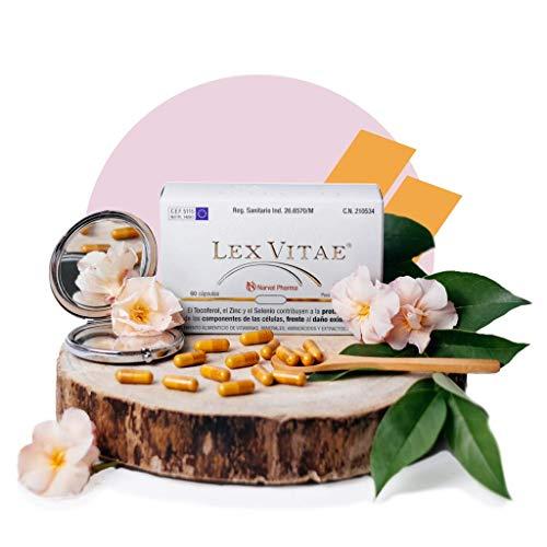 Lex Vitae® 60 Cápsulas - Potente combinación de Resveratrol, Q10, Ácido Fólico, Glutatión, Selenio, Zinc, SOD, Cisteína, Metionina y Vitaminas A, C y E - Narval Pharma