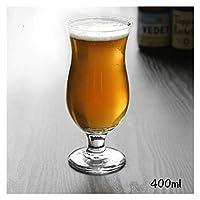 qun-qun クリエイティブガラスゴブレットチューリップビッグベリークラフトビール白ワイングラスドリンクジュースカップ家庭用透明性人格ワイングラス (Color : 400ML)