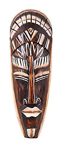 TEMPELWELT Wanddekoration Maske Holzmaske Bali 30 cm, Holz braun weiß, Kunsthandwerk Bali Lombok Dekomaske im afrikanischen Stil